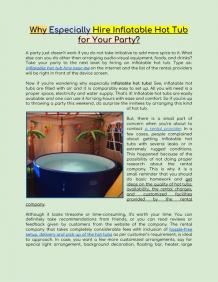 Why Especially Hire Inflatable Hot Tub for Your Party?