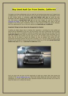 Buy Used Audi Car From Dealer, California
