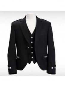 Argyll Wool Kilt Jacket Perfect for Wedding; Colored Black