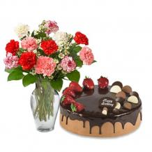Mix Color Carnations with Choco Strawberry cake   Gift Delivery Australia