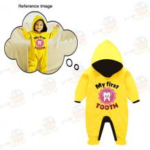 Custom Baby Jump Suit with Hoodie and Socks Tooth-YELLOW - New Born Baby Accessories Online - Toddler Accessories |
