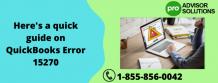 Here's a quick guide on QuickBooks Error 15270