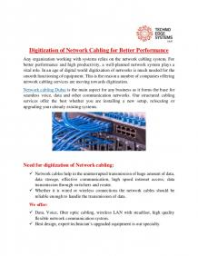 Digitization of Network Cabling for Better Performance