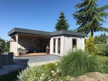 """Eck-Gartenhaus """"Hansa"""" als Garten-Esszimmer und Terrassen-Lounge"""