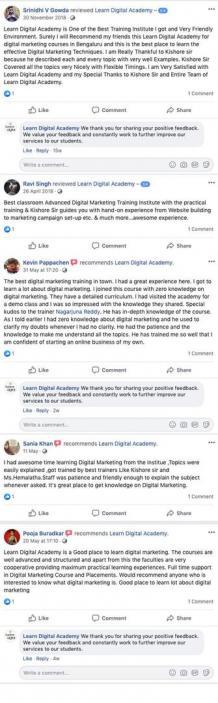 Learn Digital Academy|institute of digital marketing in bangalore - Testimonial