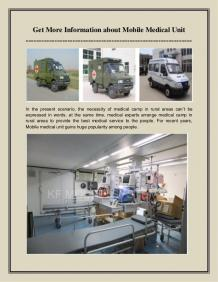 Get More Information about Mobile Medical Unit