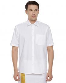 Uathayam Men White shirt half sleev