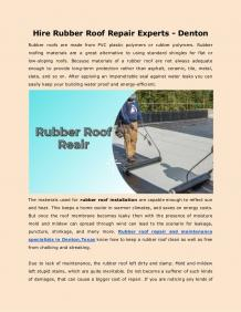 Hire Rubber Roof Repair Experts - Denton