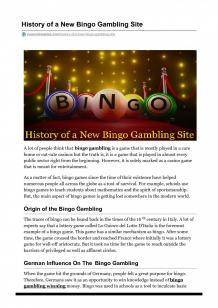 History of a New Bingo Gambling Site | Visual.ly