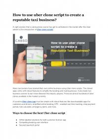 How to use uber clone script to create a reputable taxi business