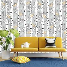 Birch Trees and Bird Wallpaper Traditional or Removable Peel | Etsy