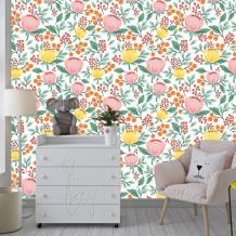 Pastel Pink Yellow Floral Wallpaper Traditional Non woven or   Etsy
