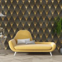 Geometric Art Deco Black Gold Wallpaper Traditional Non woven   Etsy