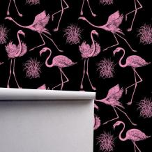 Pink Flamingo Removeable Wallpaper Traditional or Removable | Etsy