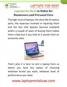 Laptops for Rent in Dubai for Businesses and Personal Uses