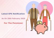 Latest EPS Notification As On 20th February 2020 For The Pensioner