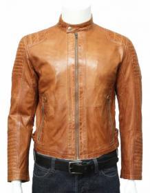 Biker Bomber Tan Leather Jacket for Men | Leatherwins