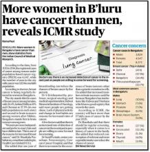 More Women in Bengaluru Have Cancer Than Men Says Study - Cytecare Hospital