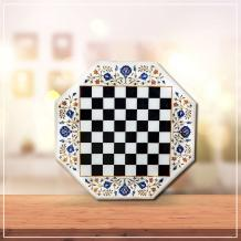 MARBLE CHESSBOARD WITH MARBLE CHESS PIECES - Marble Inlay Handicraft Products