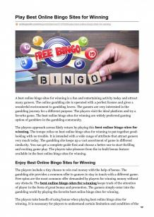 Play Best Online Bingo Sites for Winning | Visual.ly