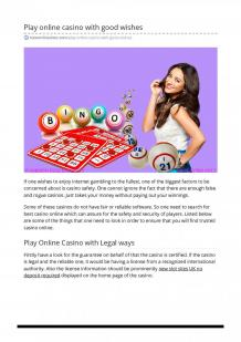 Play online casino with good wishes
