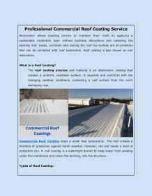 Professional Commercial Roof Coating Service