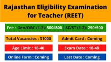 REET Exam 2021: Admit Card | Answer Key | Result and Important Dates
