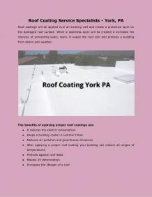 Roof Coating Service Specialists - York, PA