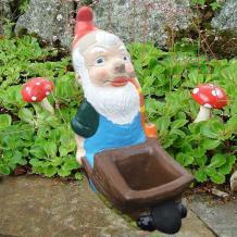 Pixie/Gnomes - Garden Gnome with Wheelbarrow Planter ~ Roy
