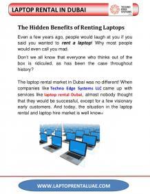 The Hidden Benefits of Laptop rental in Dubai