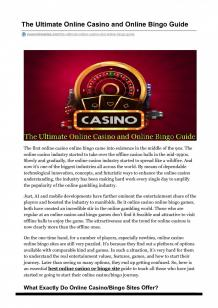 The Ultimate Online Casino and Online Bingo Guide | Visual.ly