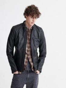 Men Dull Black Leather Jacket