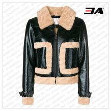 WOMEN BLACK BOMBER LEATHER JACKET