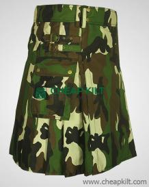 Men's Woodland Camouflage Utility Kilt