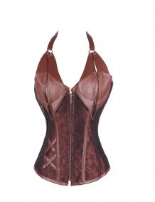 Steel Boned Steampunk Gothic Halter Leather Corset | Sayfutclothing